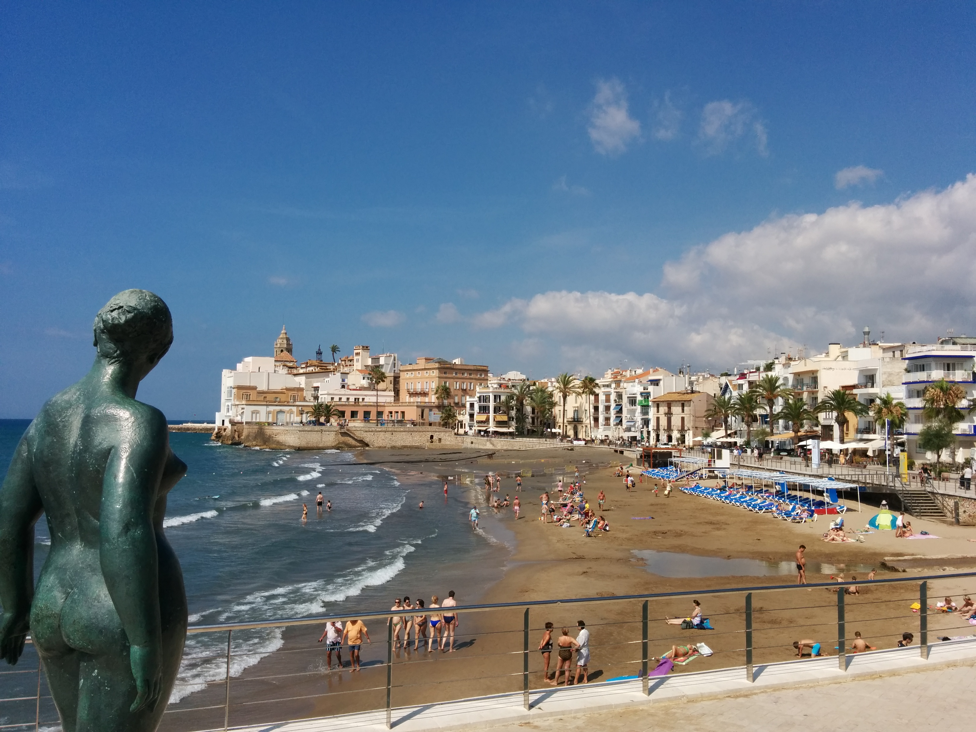 Fishermen's houses, the sea and colonial buildings in Sitges